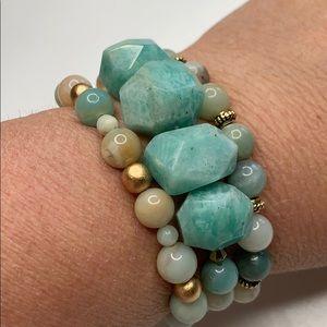 Amazonite nugget set of 3 beaded bracelets